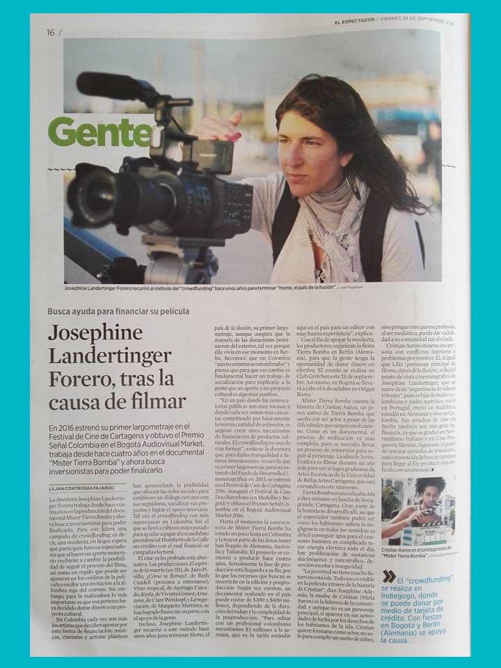 Artículo en El Espectador, Colombia